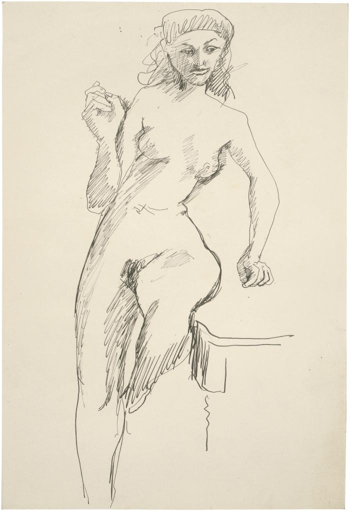 [Standing female nude leaning on table]