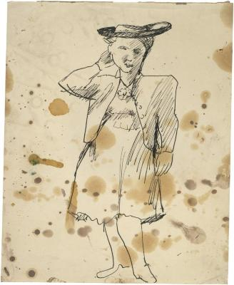 [Standing woman wearing hat]