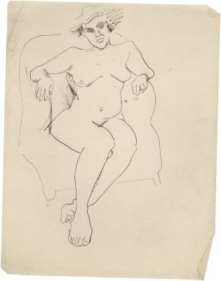 [Female nude in armchair]