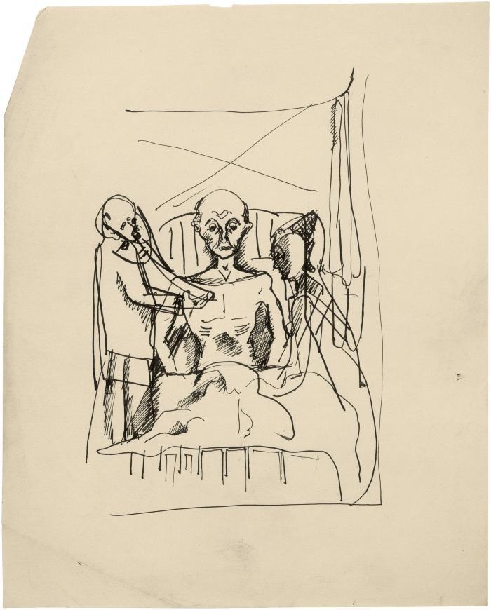 [Doctor examining man, nurse attending]