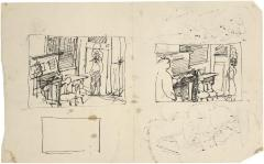 [Interior with figures and piano, two studies]