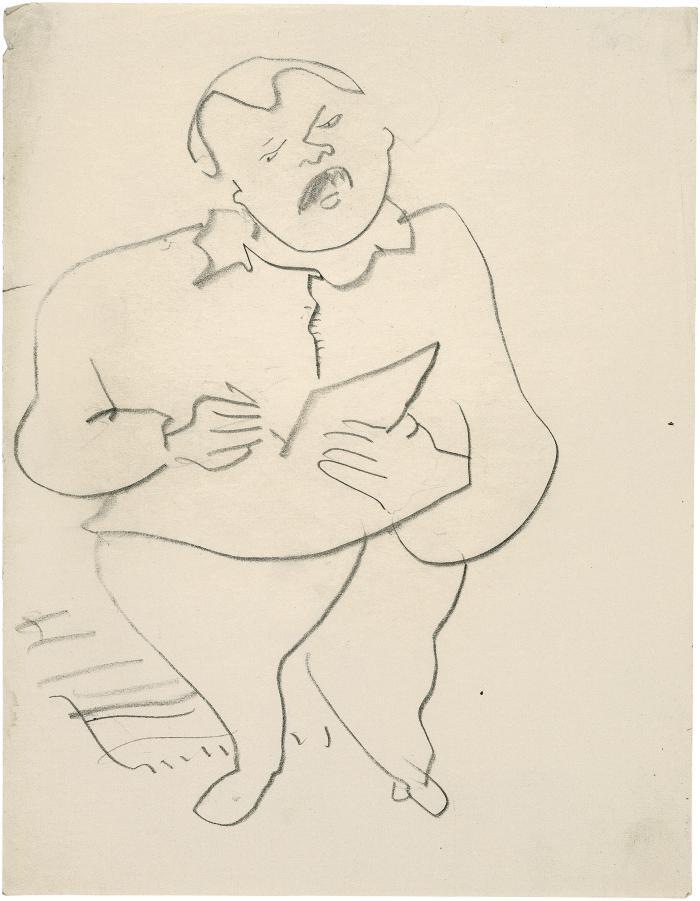 [Standing man drawing]