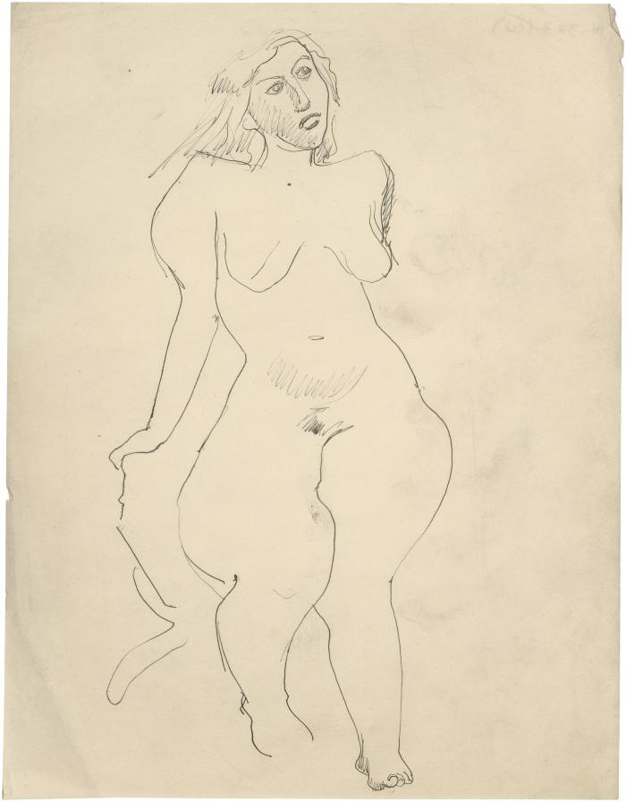 Female nude in chair]