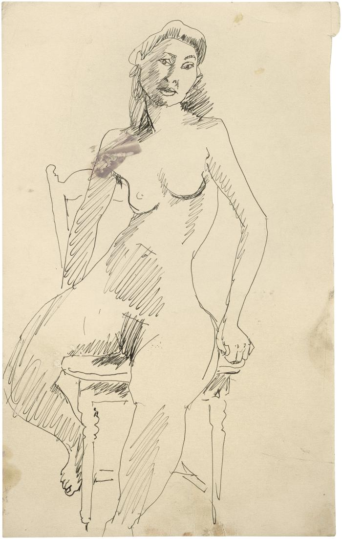 [Female nude in chair]