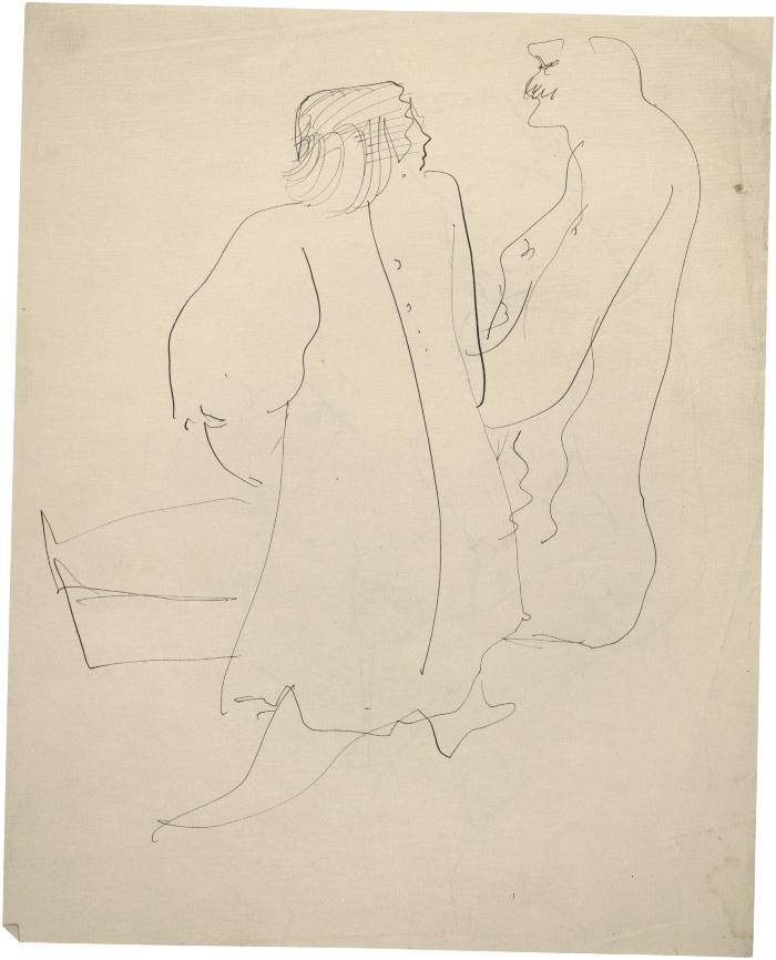 [Woman and seated man]