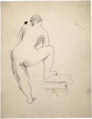 [Standing female nude with foot on chair]
