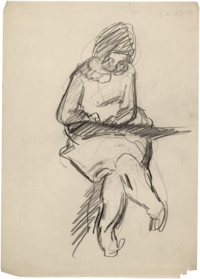 [Seated girl drawing]