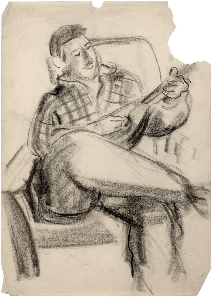 [Man in chair playing mandolin]
