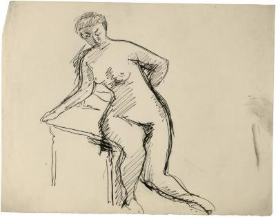 [Female nude leaning on chair]