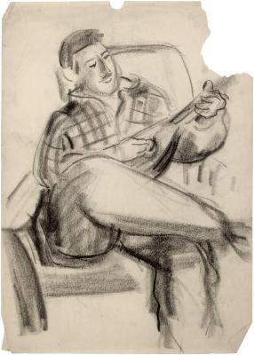 [Man in chair playing mandolin]