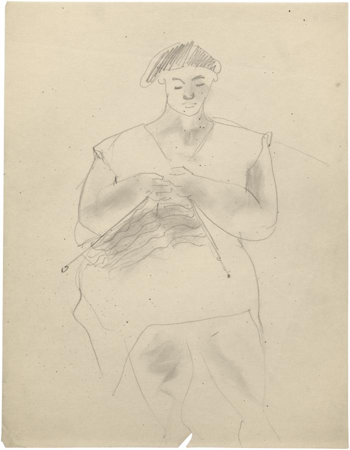 [Seated woman knitting]