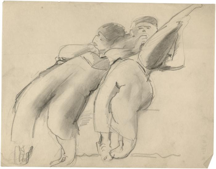 [Two reclining boys, one with mandolin]