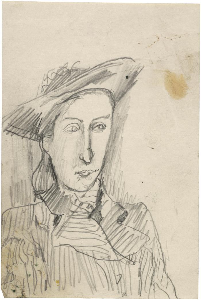 [Bust of woman wearing hat]
