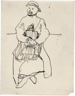 [Seated woman holding bag]