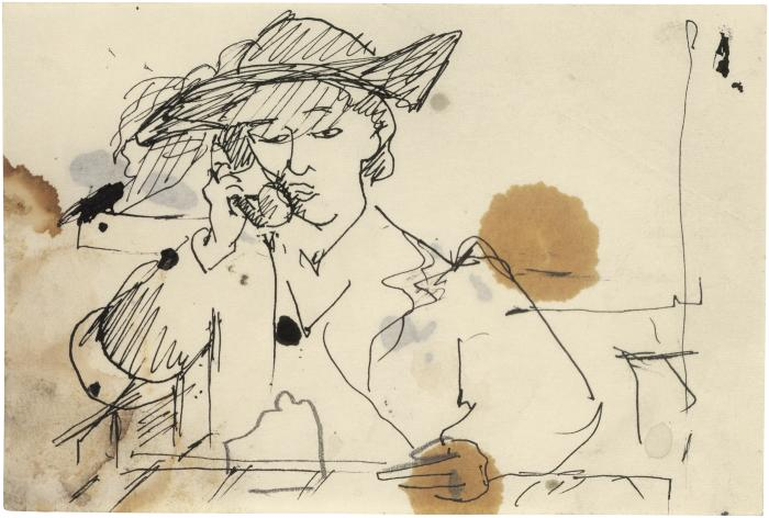 [Seated woman talking on telephone]