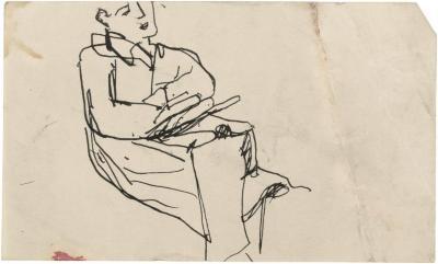 [Seated figure]