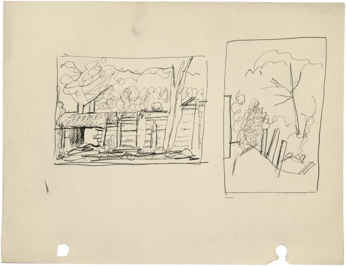 [Farm building / trees with fence posts]