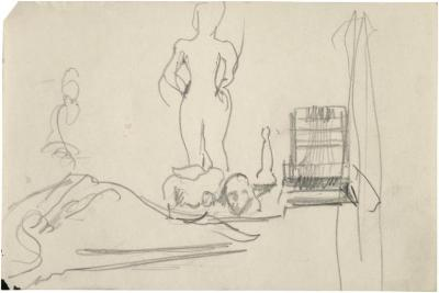 [Standing female nude with objects on table]