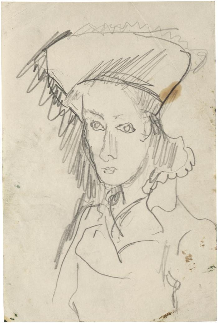 [Bust of woman wearing hat]