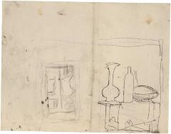 [Still life with vase and bottle / standing nude in doorway]