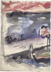 [Figures on dock]