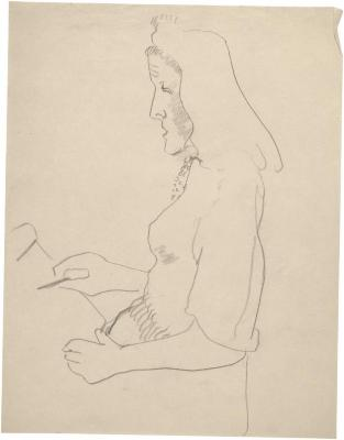 [Seated woman drawing]