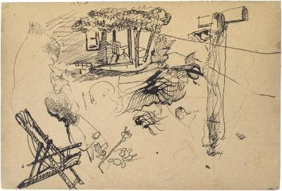 [Multiple studies: porch, foliage, chair, figures] The Scribble-In Book, page 1
