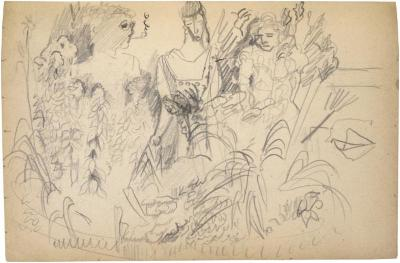[Man and two women in a garden] The Scribble-In Book, page 61