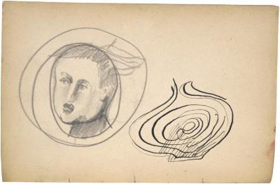 [Head of a man / spiral design] The Scribble-In Book, page 60