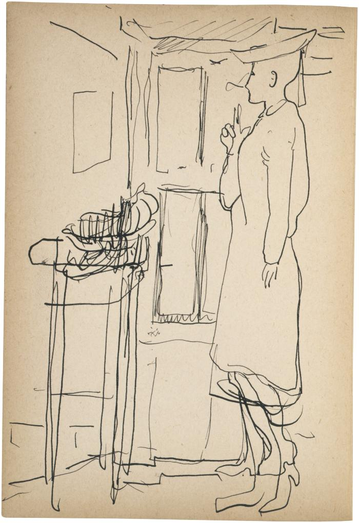 [Woman standing by window] The Scribble-In Book, page 120