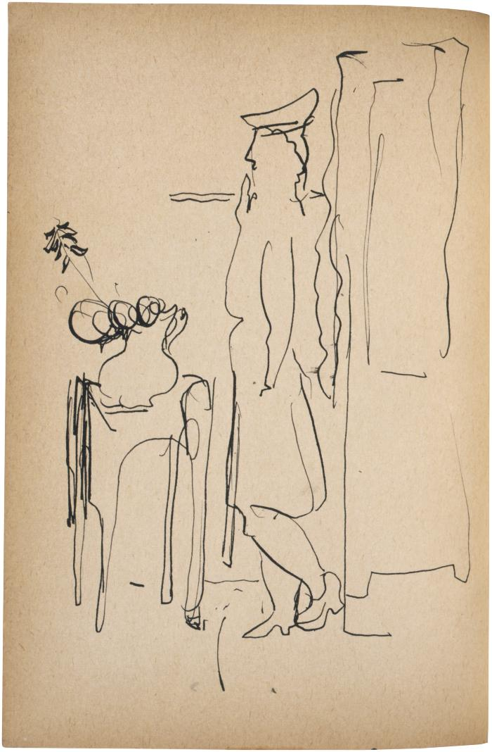 [Woman standing by window] The Scribble-In Book, page 128