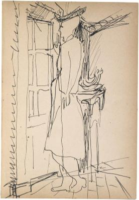 [Woman standing by window] The Scribble-In Book, page 123