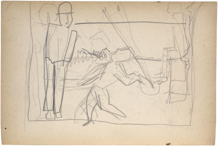 [Three figures, one with racquet and ball] The Scribble-In Book, page 96