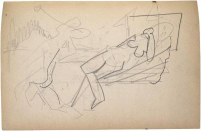 [Reclining female nude and man with racquet and ball] The Scribble-In Book, page 97
