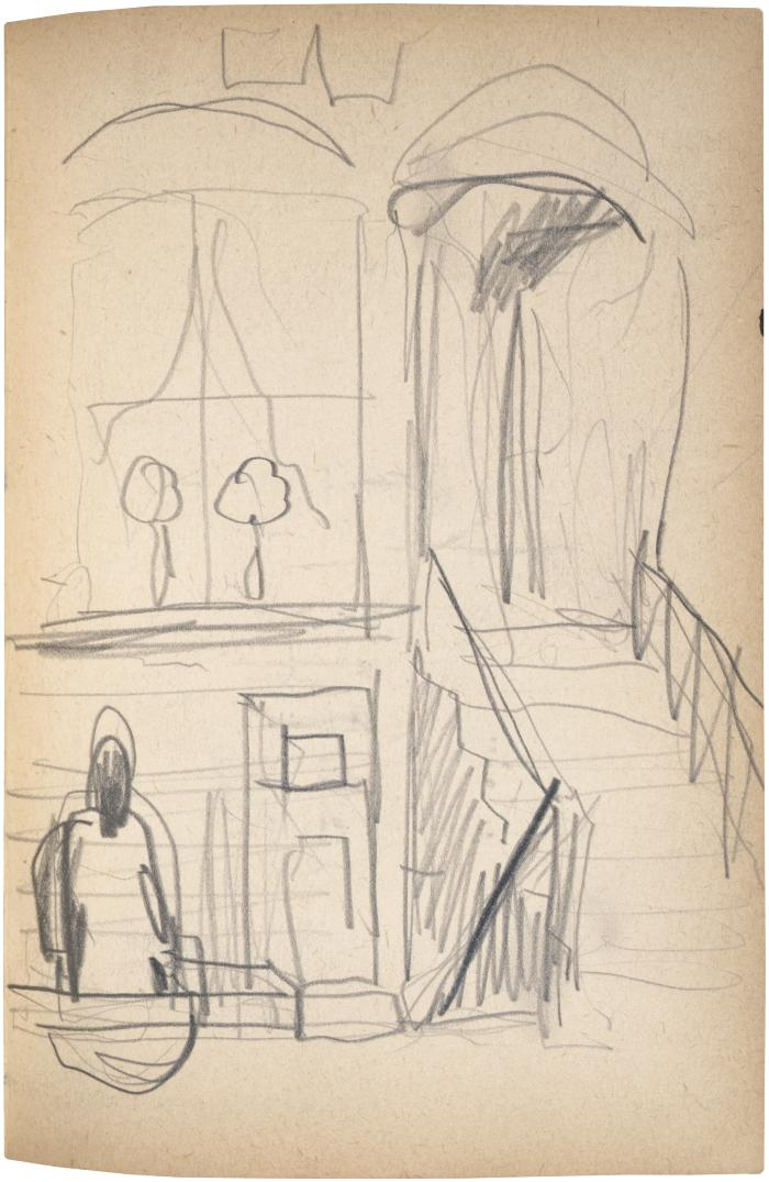[Figure outside building] The Scribble-In Book, page 105