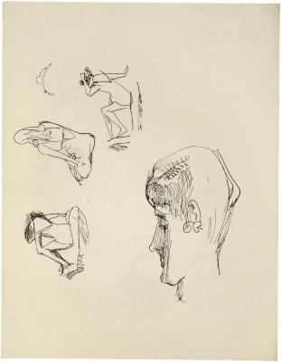 [Female bather, three studies / profile of head]